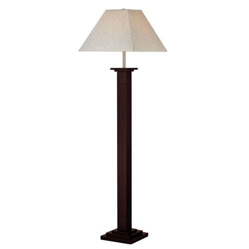 Mahogany One-Light Floor Lamp with Flax Fabric Shade