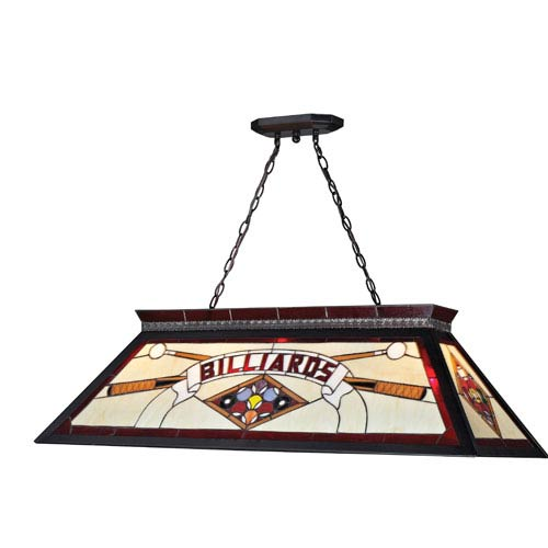 Z-Lite Tiffany Billiard Matte Black  Four Light Billiard