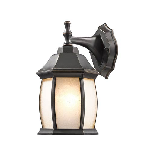 Waterdown Oil Rubbed Bronze 6-Inch One-Light Outdoor Wall Light with Seedy White Glass Round Shade