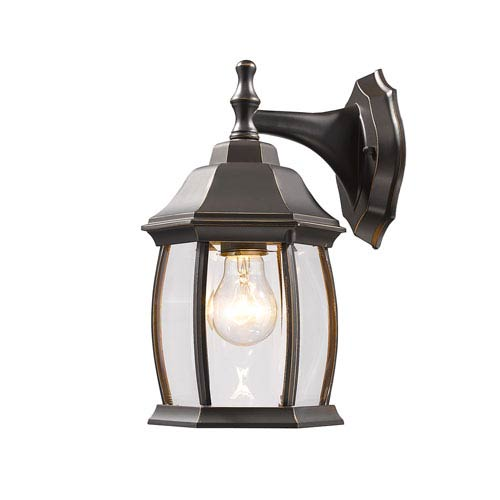 Waterdown Oil Rubbed Bronze 6-Inch One-Light Outdoor Wall Light with Clear Beveled Glass Round Shade