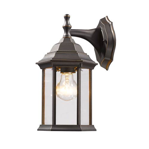 Waterdown Oil Rubbed Bronze 6 Inch One Light Outdoor Wall With Clear Beveled