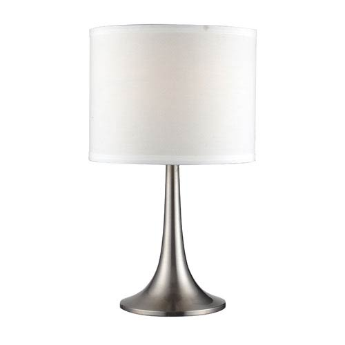 Satin Nickel One-Light 18-Inch Table Lamp with White Shade