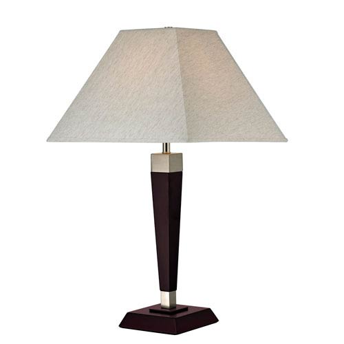 Mahogany One-Light Table Lamp with Flax Fabric Shade
