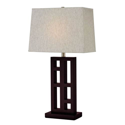 Mahogany One-Light Table Lamp with Rectangle Base
