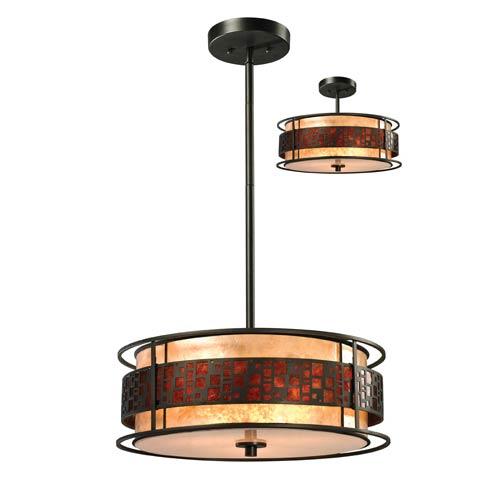 Z-Lite Oak Park Bronze 18-Inch Three-Light Pendant