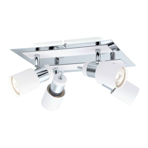 Davida Chrome and White Four-Light Semi-Flush Mount with White Glass Shade