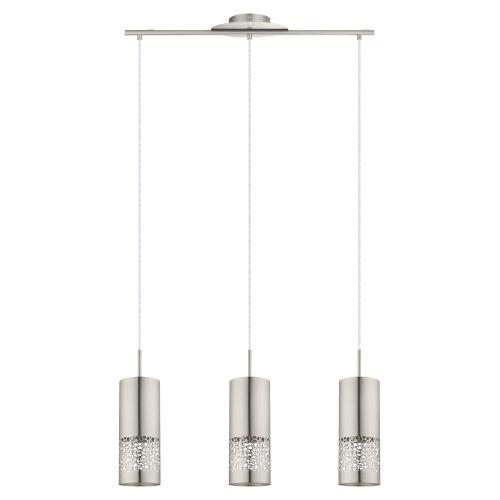 Carmelia Satin Nickel Three-Light Pendant Lighting with Brushed Nickel Stainless Steel Shade