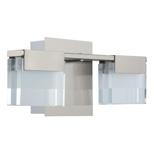 Vicino Satin Nickel Two-Light LED Wall Sconce with Frosted Clear Glass Shade
