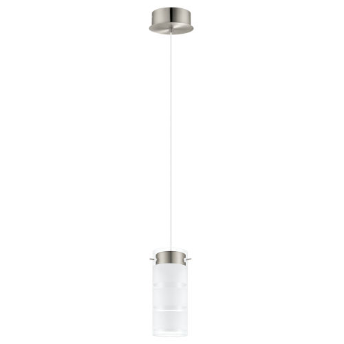 Olvero Satin Nickel LED Mini Pendant with Frosted and Clear Glass Shade
