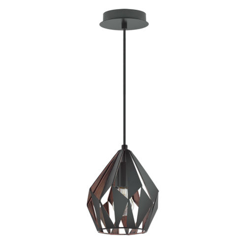 Carlton 3 Matte Black and Copper Seven-Inch One-Light Mini Pendant