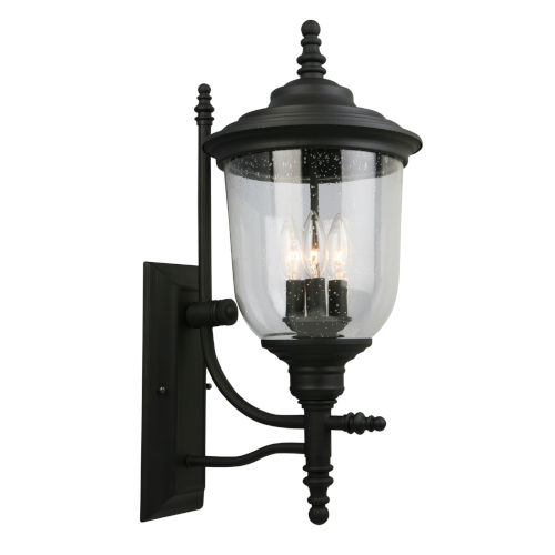 Pinedale Matte Black 10-Inch Three-Light Outdoor Wall Sconce