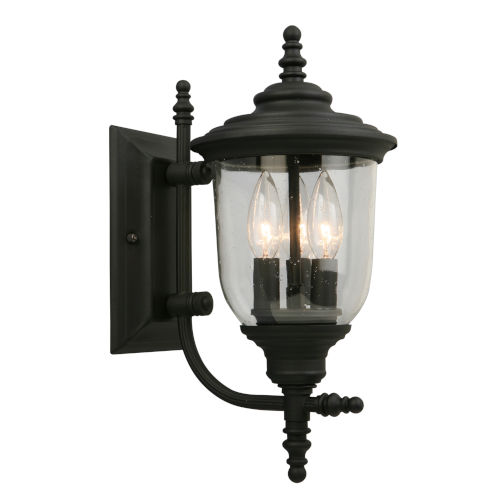 Pinedale Matte Black Seven-Inch Three-Light Outdoor Wall Sconce