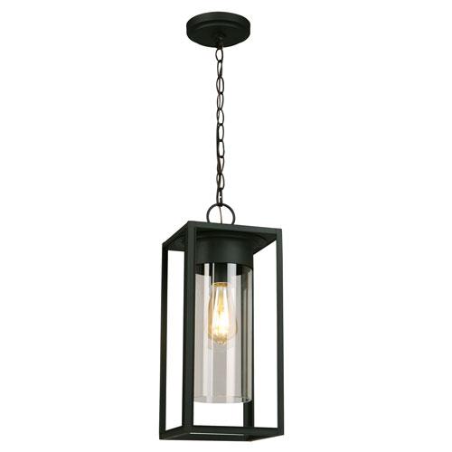 Walker Hill Matte Black One-Light Outdoor Pendant