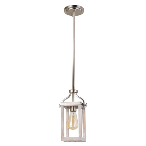 Montrose Acia Wood and Brushed Nickel One-Light Mini Pendant