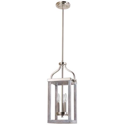 Montrose Acia Wood and Brushed Nickel Three-Light Mini Pendant