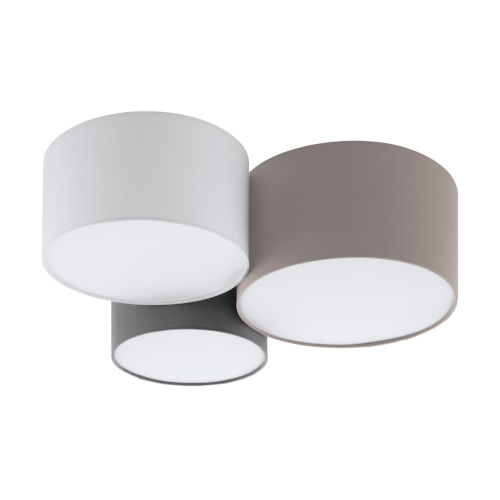Taupe, White and Gray 22-Inch Three-Light Flush Mount