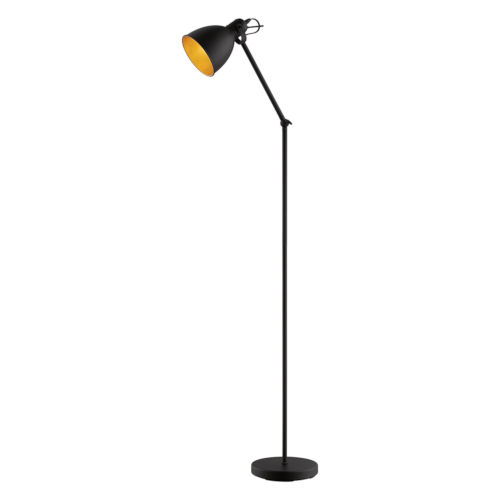 Priddy 2 Black One-Light Floor Lamp with Black Exterior and Gold Interior Metal Shade