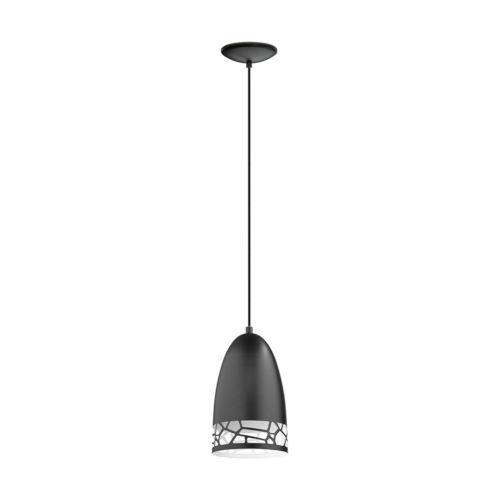 Savignano Black One-Light Mini Pendant with Black Exterior and White Interior Metal Shade