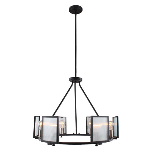 Henessy Black and Brushed Nickel 25-Inch Six-Light Chandelier