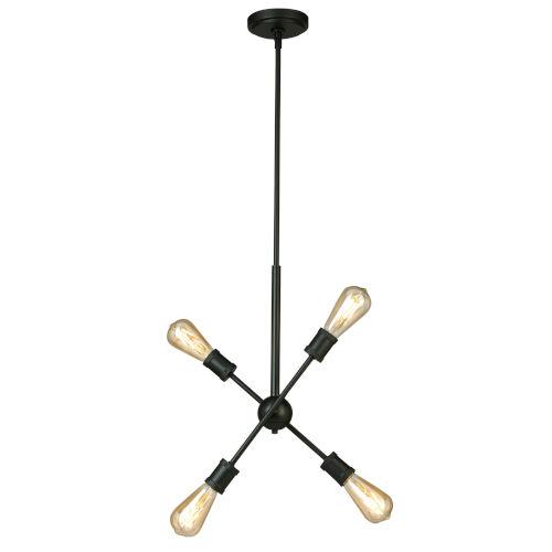 Etris Row Black Four-Light Pendant