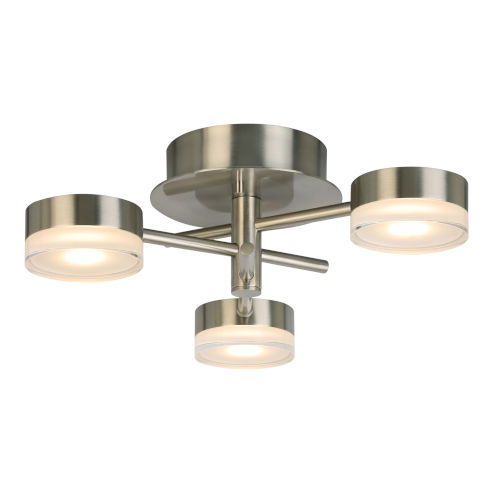 Transton Brushed Nickel Three-Light LED Flush Mount