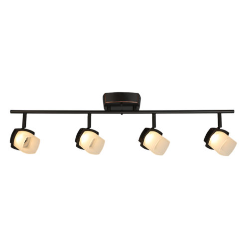 Hogan Ridge Oil Rubbed Bronze Four-Light LED Semi-Flush Mount with Frosted Glass Shade