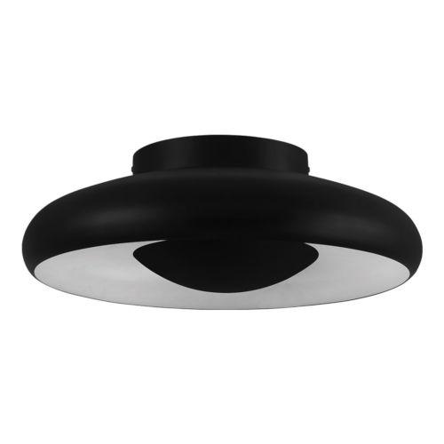 Meldola Matte Black and White 18-Inch LED Flush Mount