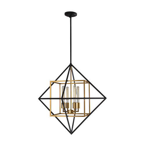 Pryor Black and Gold Four-Light Pendant