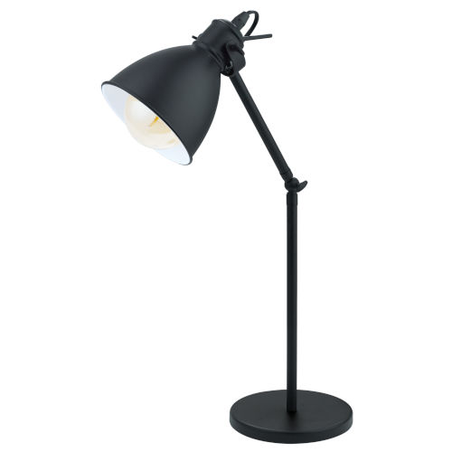 Priddy Black One-Light Desk Lamp with Black Exterior and White Interior Shade