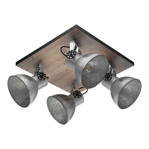 Barnstaple Distressed Zinc and Black Four-Light Track Light with Distressed Zinc Metal Shade