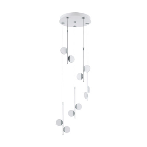 Olindra White and Chrome 15-Inch 10-Light Pendant