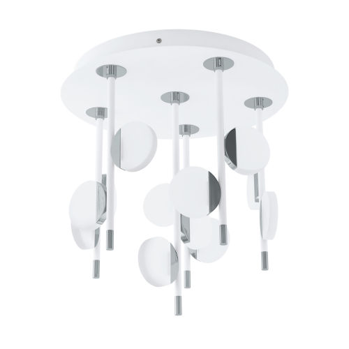 Olindra White and Chrome 16-Inch 12-Light LED Flush Mount