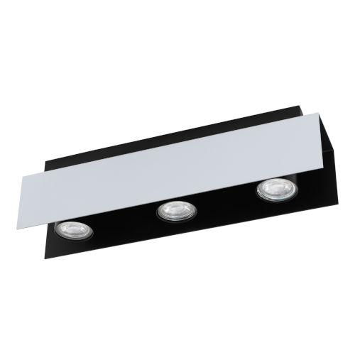 Viserba Aluminum and Black Four-Inch Three-Light LED Track Light