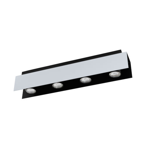 Viserba Aluminum and Black Four-Inch Four-Light LED Track Light