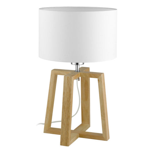 Chietino Natural One-Light Table Lamp with White Fabric Shade