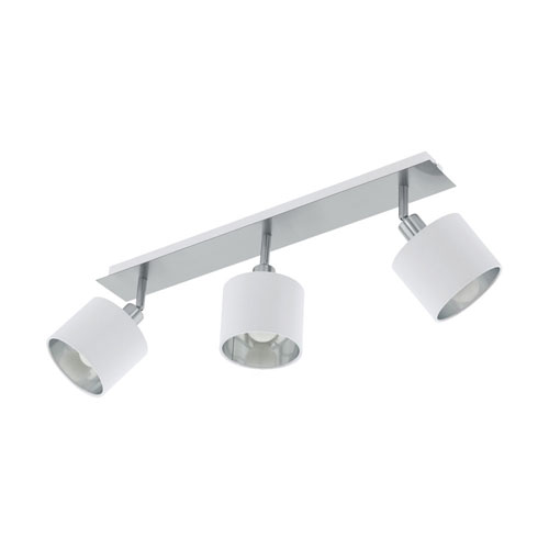 Valbiano Satin Nickel and White Three-Light Fixed Track Light