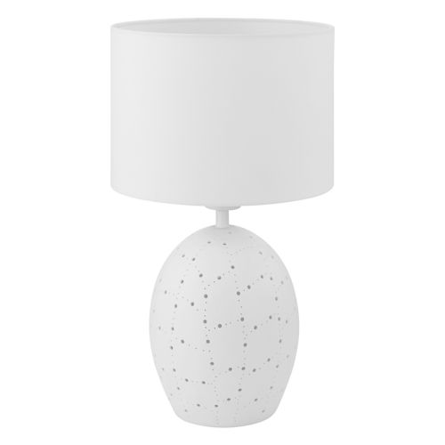 Montalbano White One-Light Table Lamp with White Fabric Shade