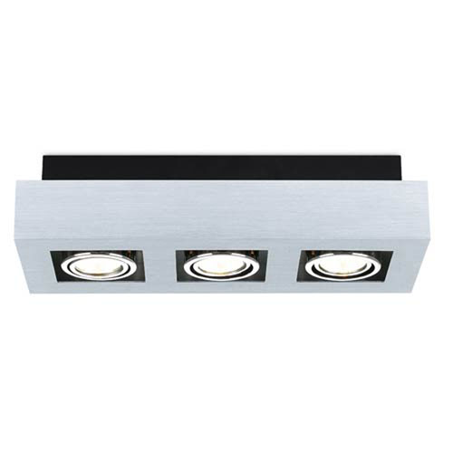 Tufts Brushed Aluminum, Chrome and Black Three-Light Spot Light