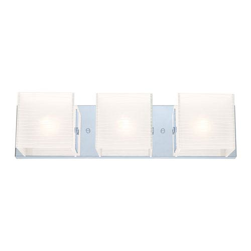 EGLO Alea 1 Chrome Three Light Bath Fixture w/ Striped Satinated Glass