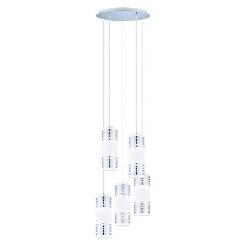 EGLO Bayman Chrome Five Light Staircase Pendant w/ Matte White Glass