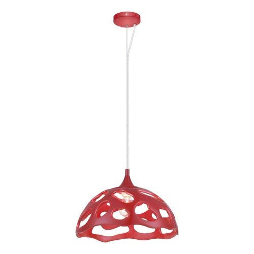 Anzino Glossy Red One Light 15-Inch Wide Pendant