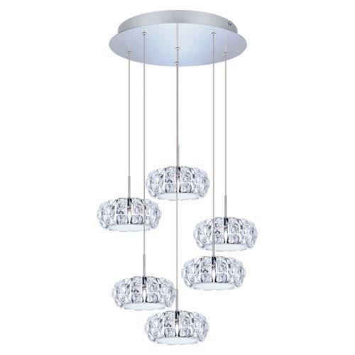 Corliano LED Chrome Six-Light Mini Pendant