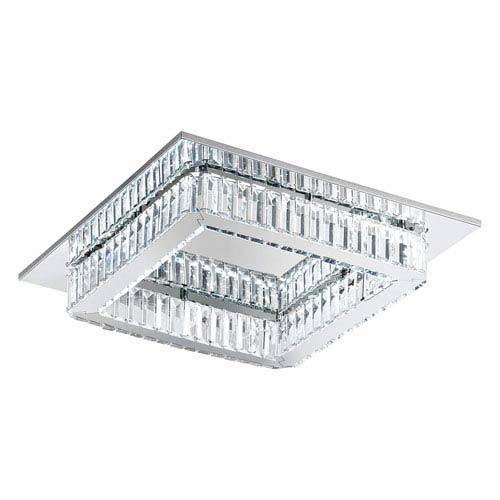 Corliano LED Chrome Square Eight-Light Flushmount