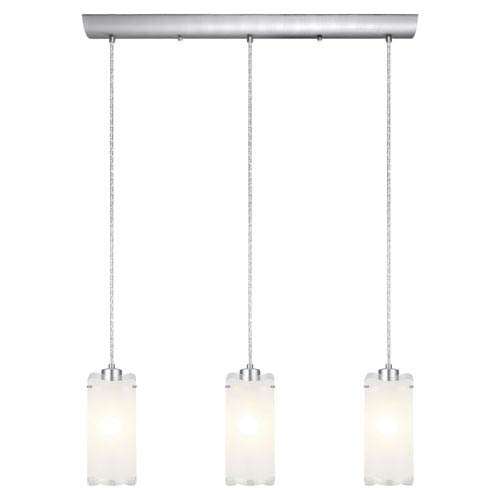 Felice Matte Nickel Three-Light Island Pendant with Frosted Glass