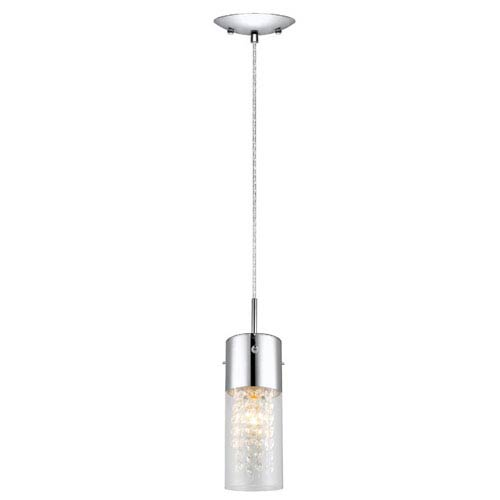 EGLO Diamond Chrome One-Light Mini Pendant with Clear and Crystal Glass