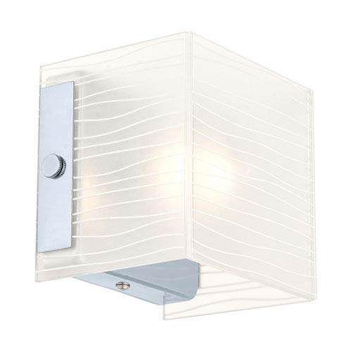 EGLO Alea 1 Chrome Wall Sconce w/ Striped Satinated Glass