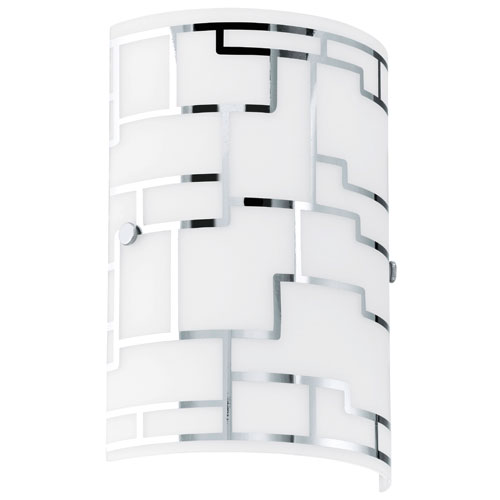 EGLO Bayman Chrome Wall Sconce w/ White Glass
