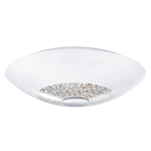 EGLO Ellera Chrome 12.5-Inch Wide Semi-Flushmount w/ Opal Glass and Clear Crystals