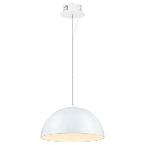 Gaetano Glossy White 21-Inch LED Dome Pendant