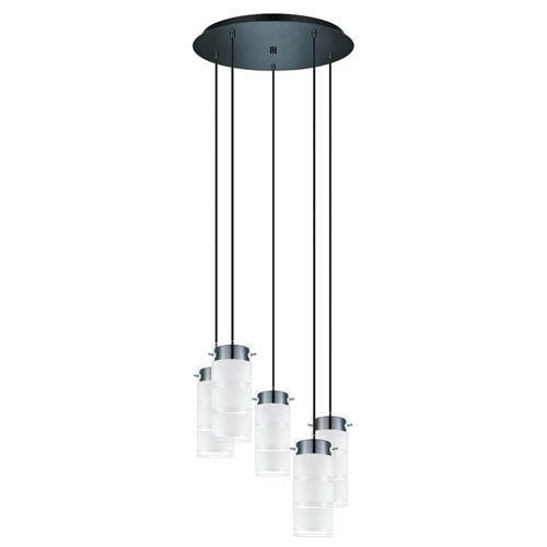 Olvero LED Black Chrome Five-Light Mini Pendant